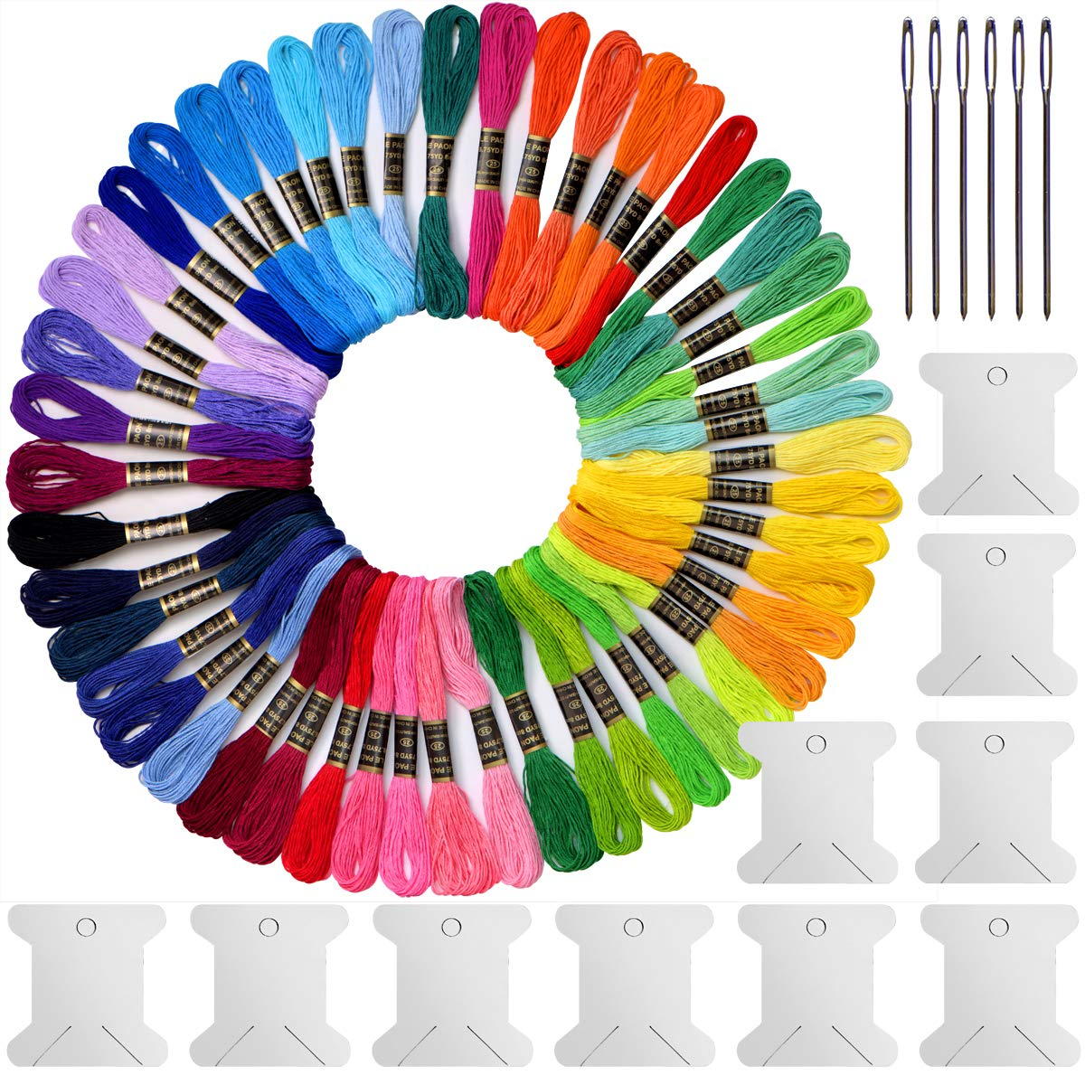 Embroidery Floss & Embroidery Thread kit- Cross Stitch Threads - Friendship Bracelets Floss - Crafts Floss -100% Long-Staple Cotton-100 skeins Per Pack and Free Set of 12 Pcs Organizer Floss Bobbins