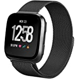 hooroor Compatible Bands Replacement for Fitbit Versa Smart Watch Women Men Small Large, Milanese Loop Stainless Steel Metal Sport Bracelet Strap Magnet Lock Wristbands