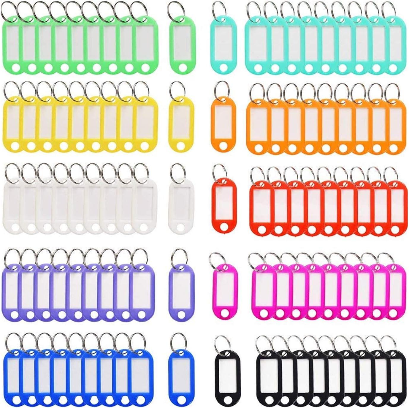 Llaveros con Etiqueta, NIAGUOJI 100 Unidades Llavero con Anillo de Plástico ID Llaveros para Hotel Escuela de Oficina EquipajeHogar 10 Colores