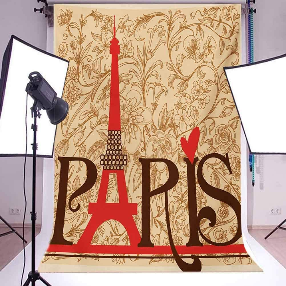 6.5x10 FT Backdrop Photographers,Paris Vintage Floral French Eiffel Tower City Holiday Stylish Postcards Gifts Background for Baby Shower Birthday Wedding Bridal Shower Party Decoration Photo Studio