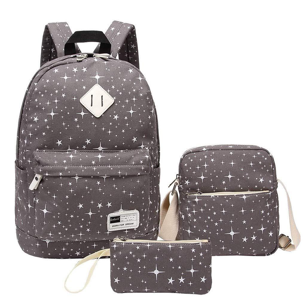 School Backpack Ladies Teens Girls Boys Kids School Bags Bookbag Shoulder Bag with Crossbody Bag and Pencil Case Gray