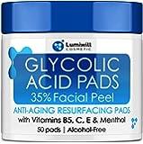 Glycolic Acid Pads 35% - AHA Glycolic Acid Peel Pads with Vitamin B5, C, E - Natural Glycolic Acid Peel for Dark Spots…