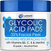 Glycolic Acid Pads 35% - AHA Glycolic Acid Peel Pads with Vitamin B5, C, E - Natural Glycolic Acid Peel for Dark Spots…