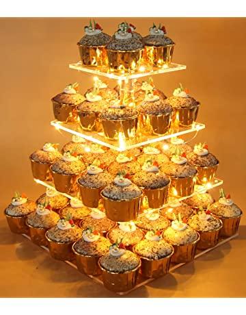 Vdomus Pastry Stand 4 Tier Acrylic Cupcake Display With LED String Lights Dessert Tree Tower