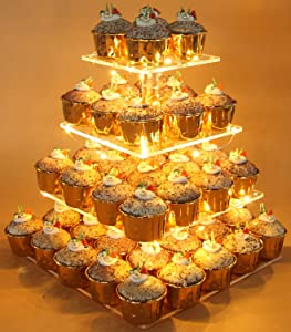 Vdomus Pastry Stand 4 Tier Acrylic Cupcake Display Stand with LED String Lights Dessert Tree Tower for Birthday/Wedding Party (Square)