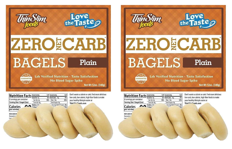 ThinSlim Foods Keto Low Carb Bagels - Plain, 2 Pack (6 Bagels Each)