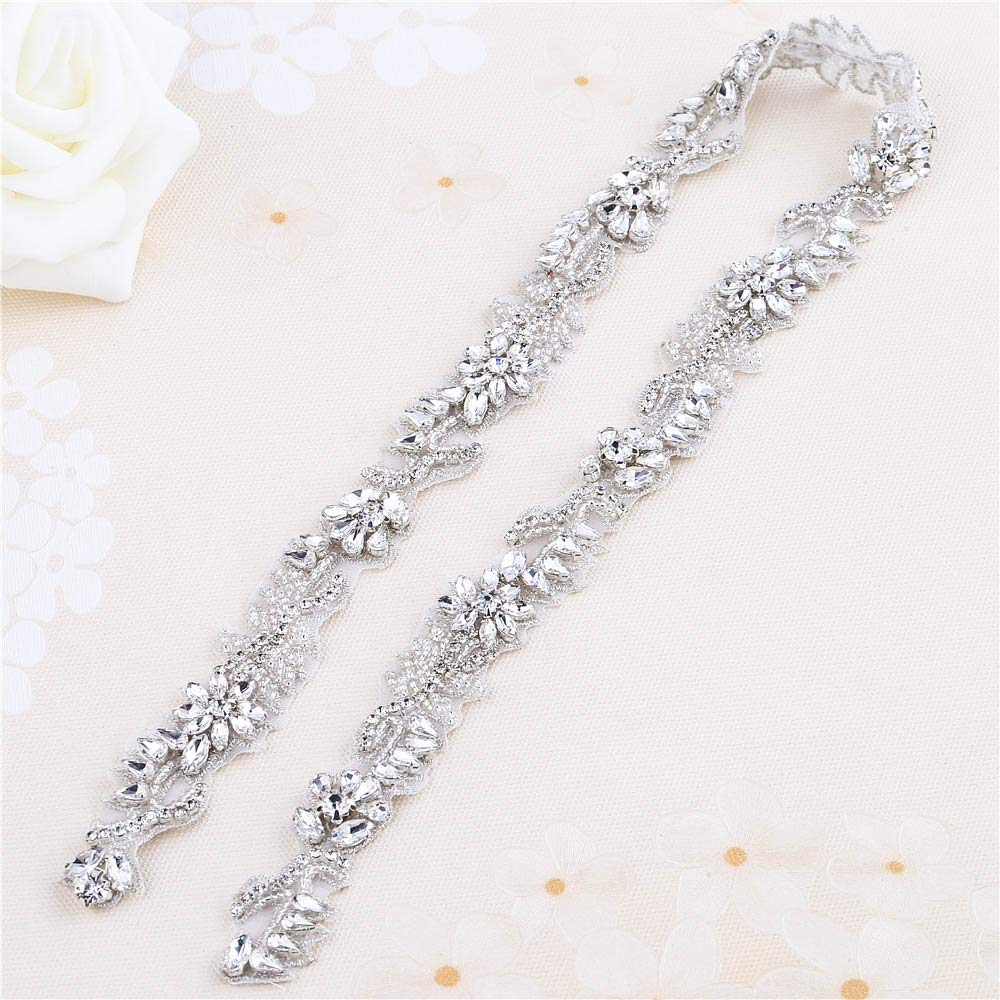 Sparkly Rhinestone Belt Crystal Sash Applique Bridal Wedding Dress Applique Sew Iron on for Bridesmaid Gown Women Prom Formal Dress Clothes Embellishments by XINFANGXIU