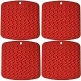 Dessous de plat/Verre/Bol/Casserole/ Pot Silicone Mat iNeibo Dessous plat 2 en 1 (Manique & Sous-plat )en silicone alimentaire, Antichaleur, Souple, Pliable, Multiusage. Set de 4 Dessous-de-plat multicolore (Carré/Rouge)
