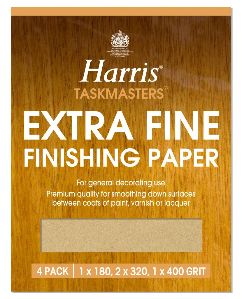 Harris Extra Fine Finishing Sandpaper Sheet 4 Pack