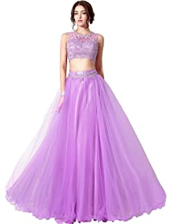 Belle House Seniors Sheer Neck Two Piece Long Prom Dress Party Ball Gown