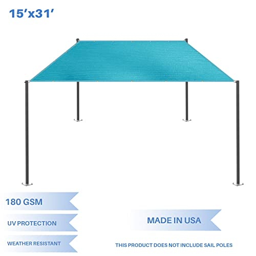E K Sunrise 15 x 31 Sun Shade Sail- Turquoise Straight Edge Rectangle UV Block Durable Awning Perfect for Canopy Outdoor Garden Backyard-180GSM-Customized