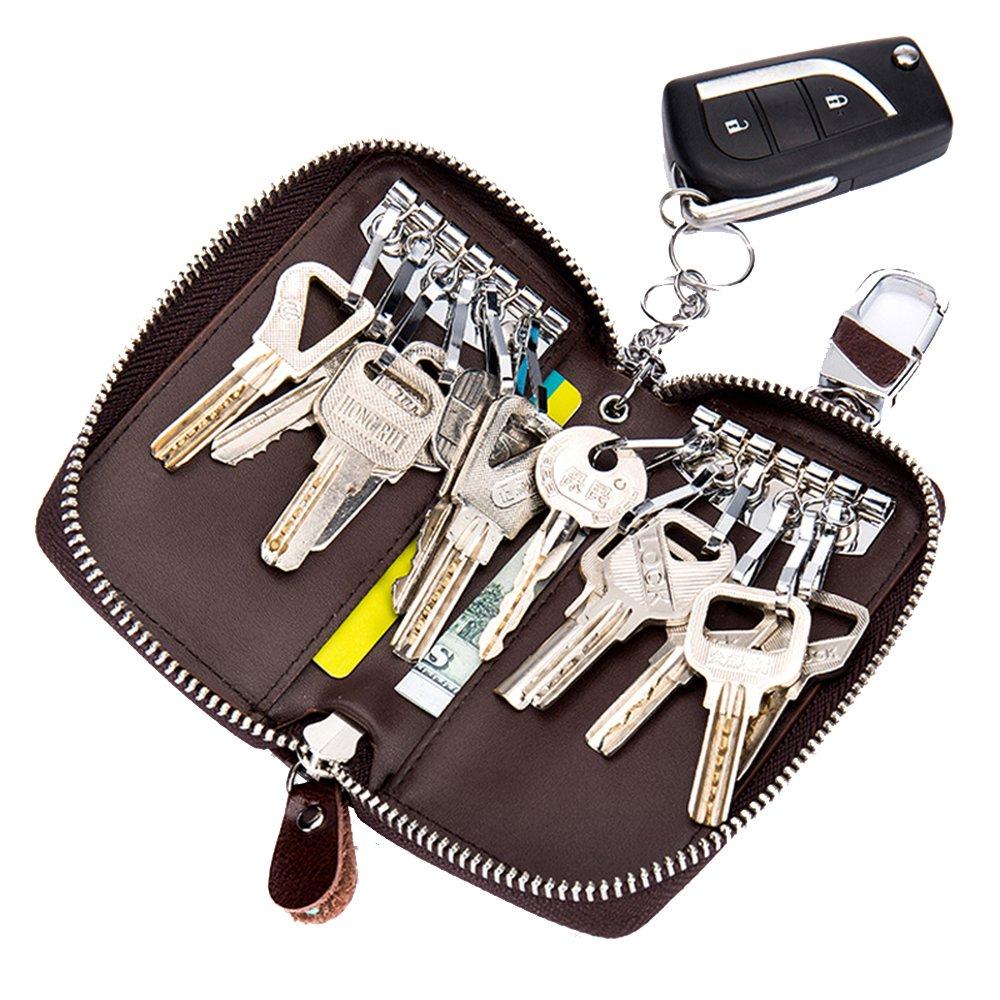 Key Holder Bag Women Men SINOKAL Keychain Bag Unisex Large Leather Wallet Case Cover Wallet Key case-Black