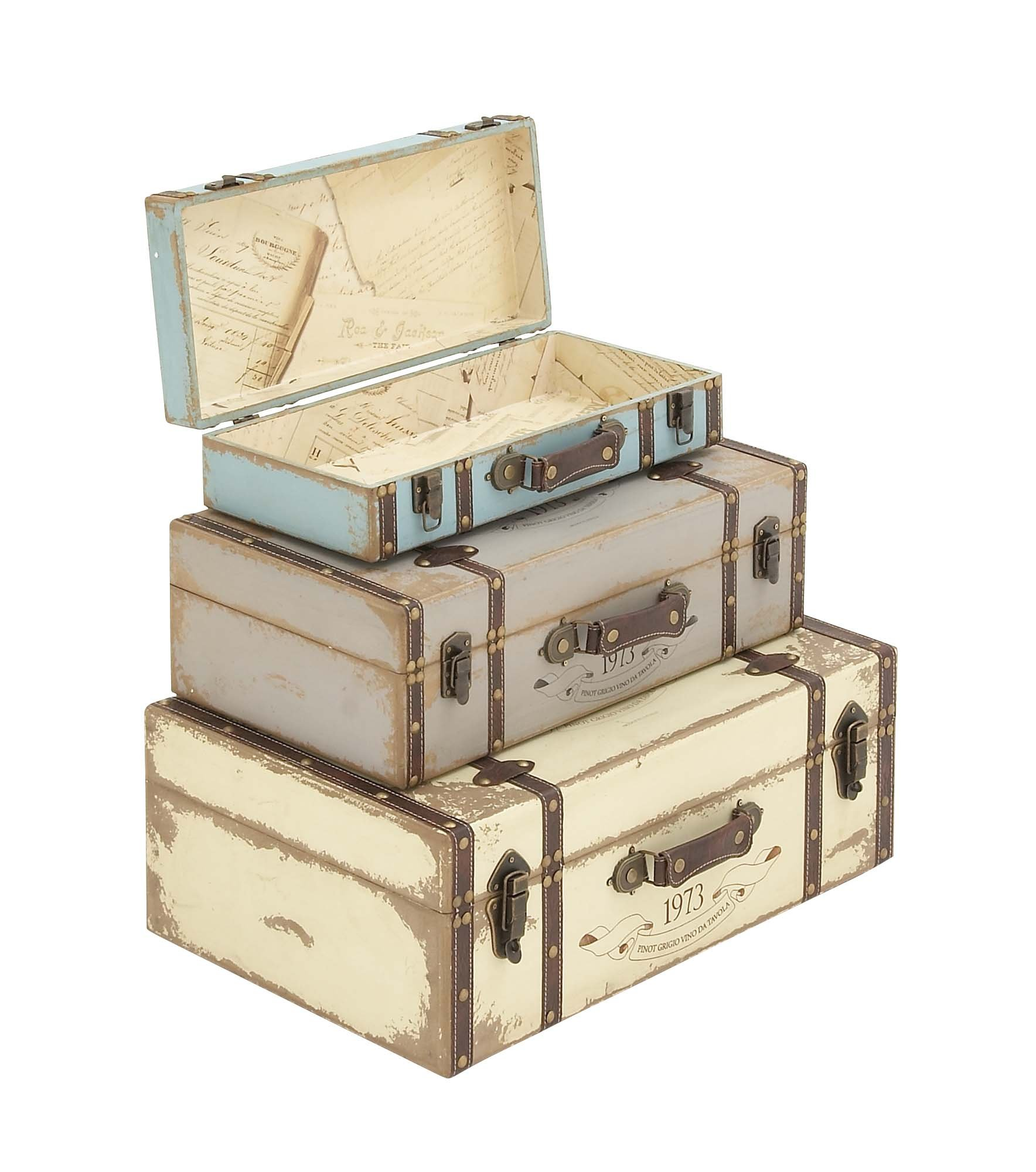 Deco 79 Wood Trunk, 23 by 21 by 18-Inch, Set of 3 by Deco 79 (Image #2)