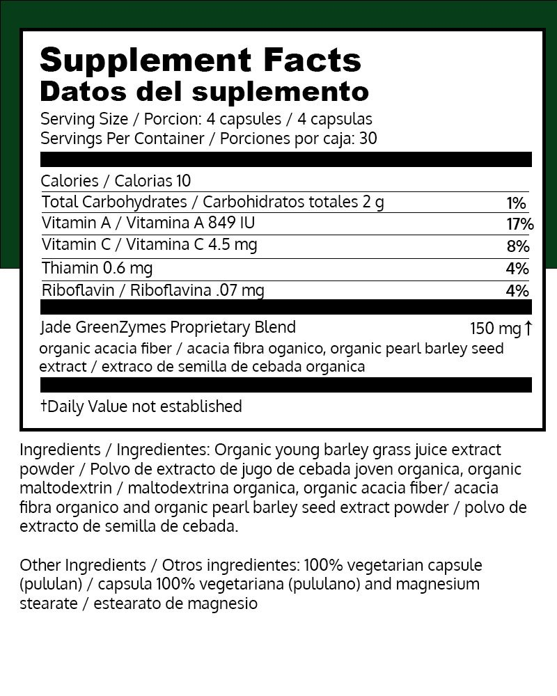 Amazon.com: Nikken Kenzen Jade GreenZymes Barley Grass - Supplement for Strong Immune System, Maintain Blood Glucose and pH Level, Organic, Kosher and Vegan ...