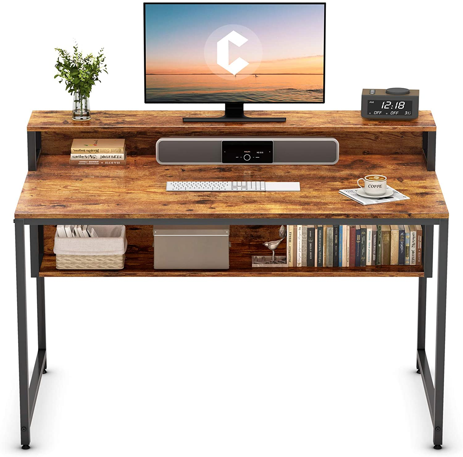 "Cubiker Computer Home Office Desk, 47"" Small Desk Table with Storage Shelf and Bookshelf, Study Writing Table Modern Simple Style Space Saving Design, Rustic"