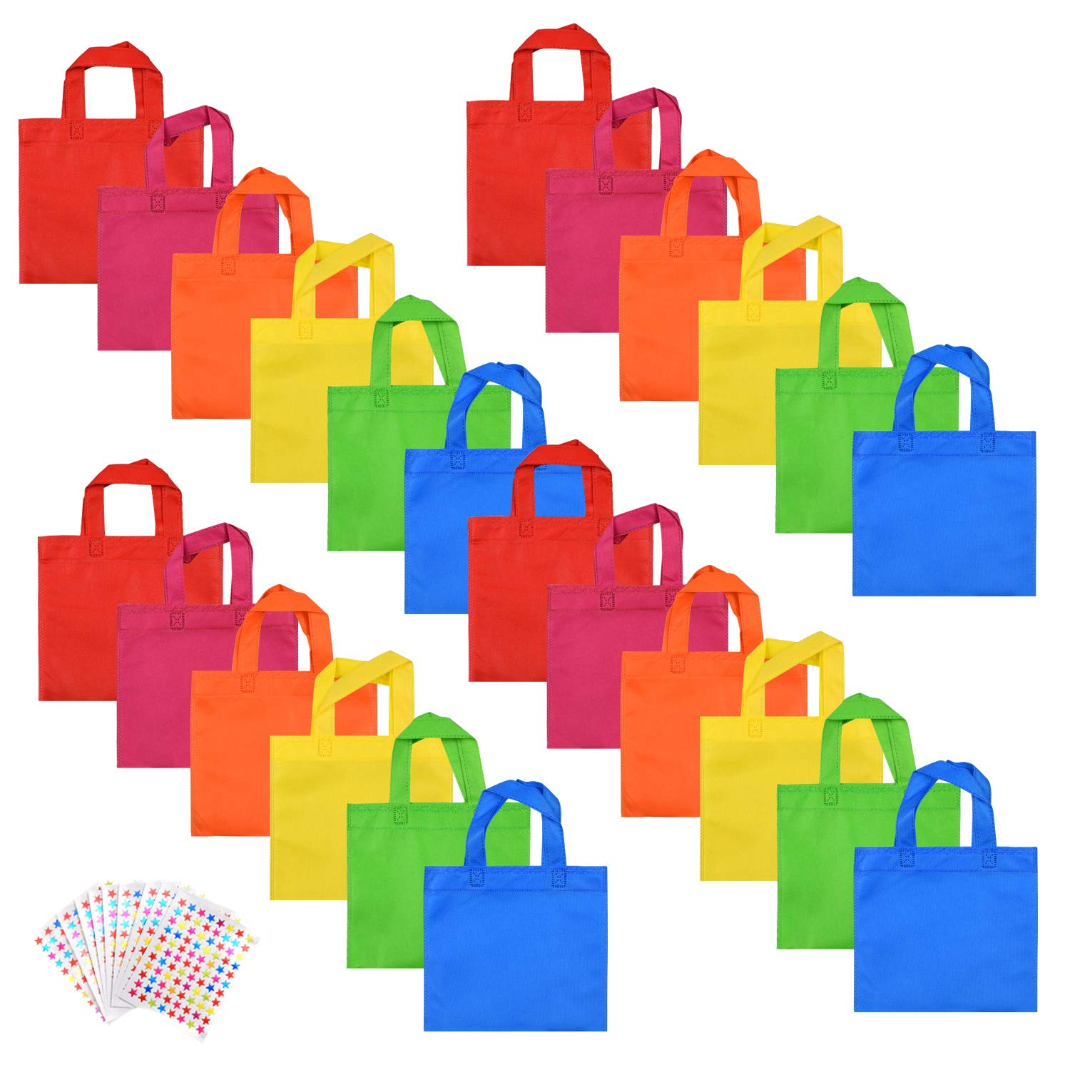 WXJ13 Party Favors Bags Non-woven Treat Bags Handles Brand Rainbow Color Party Gift Tote Bags 10 Pieces Star Stickers, 8 8 Inches, 24 Pieces