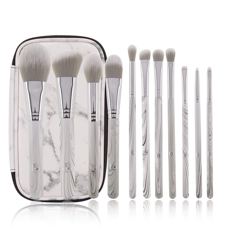 ENERGY Professional Makeup Brushes Set with PU Leather Case Marble Wood Handle Premium Face Eye Shadow Eyeliner Foundation Blush Blending Brush Kit (11PCS,Waterproof Makeup Bag)