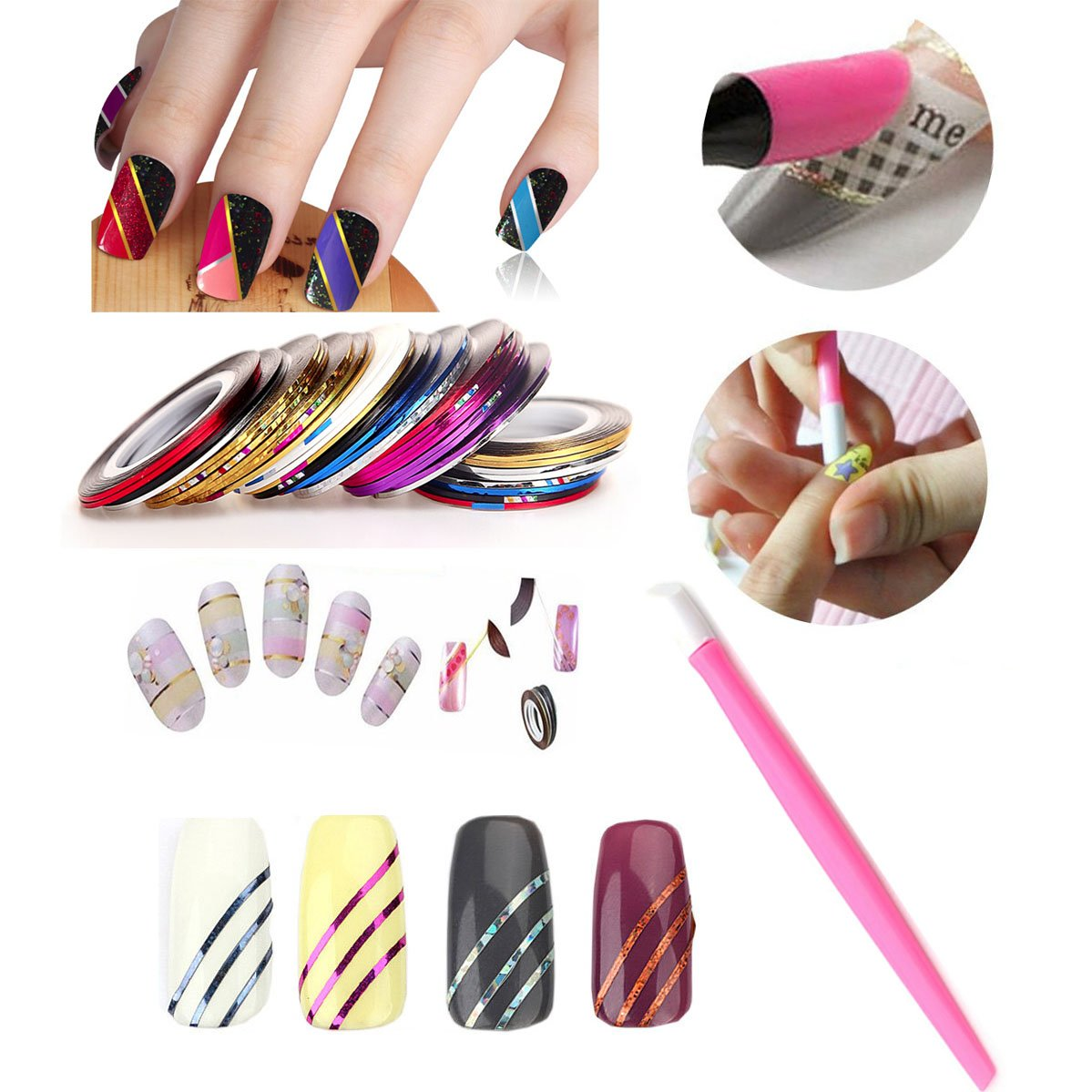 Amazon.com : Nail Art Tools Manicure Kit 15PCS Nail Painting Brush ...
