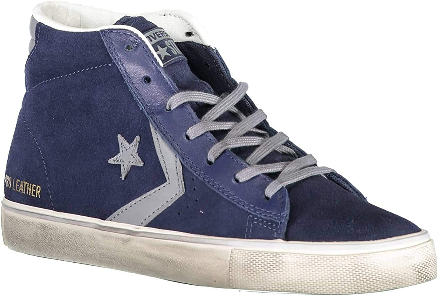 Converse Lifestyle Pro Leather Vulc Distressed Mid, Sneakers Basses Mixte Adulte Bleu Athletic Navy Mason Turtledove 406