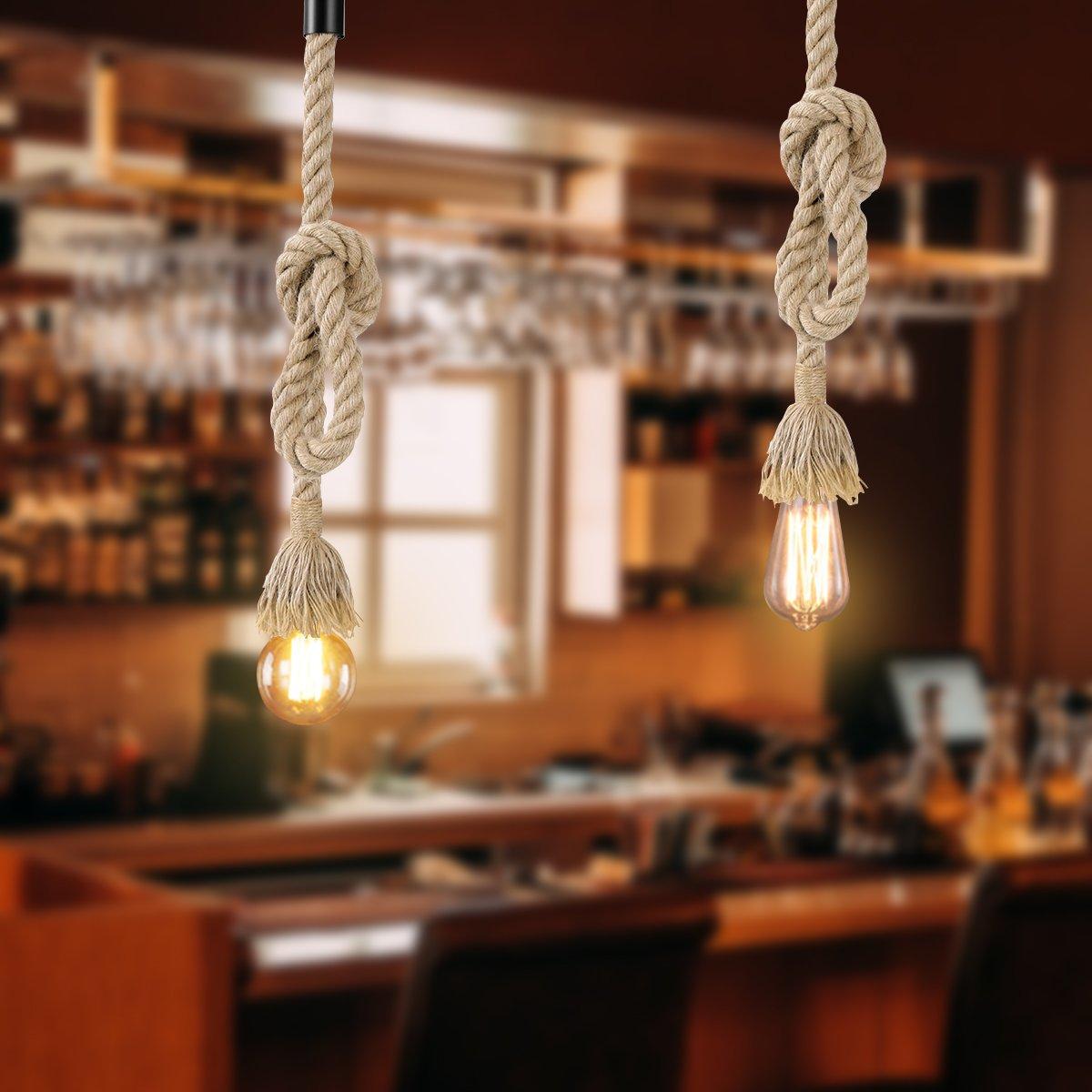 LEDMOMO 1M Vintage Cuerda de cáñamo gruesa sola cabeza colgante de cáñamo lámpara de cuerda luces colgantes para el restaurante del dormitorio Cafe Bar Decoración de estilo rural product image