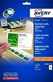 Avery 250 Cartes de Visite à Bords Lisses 200g - 85x54mm - Impression Laser, Jet d'Encre, Copieur - Mat - Blanc (C32011)