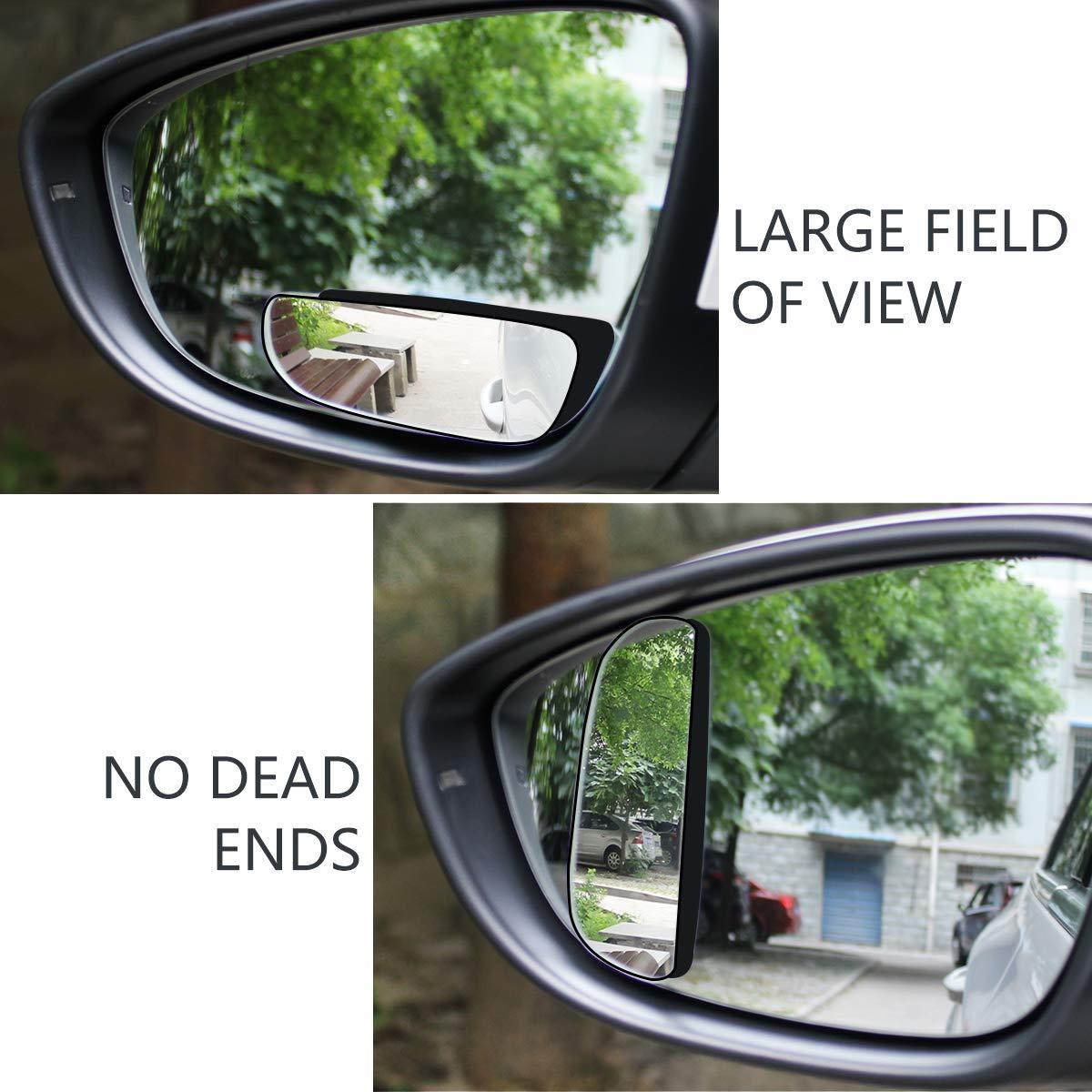 Rettangolo-2pcs WildAuto Specchio Retrovisore Aggiuntivo Grandangolo Specchietti per Angolo Morto Punto Cieco specchio retrovisore ausiliario Autoscuola,regolabile ad alta definizione