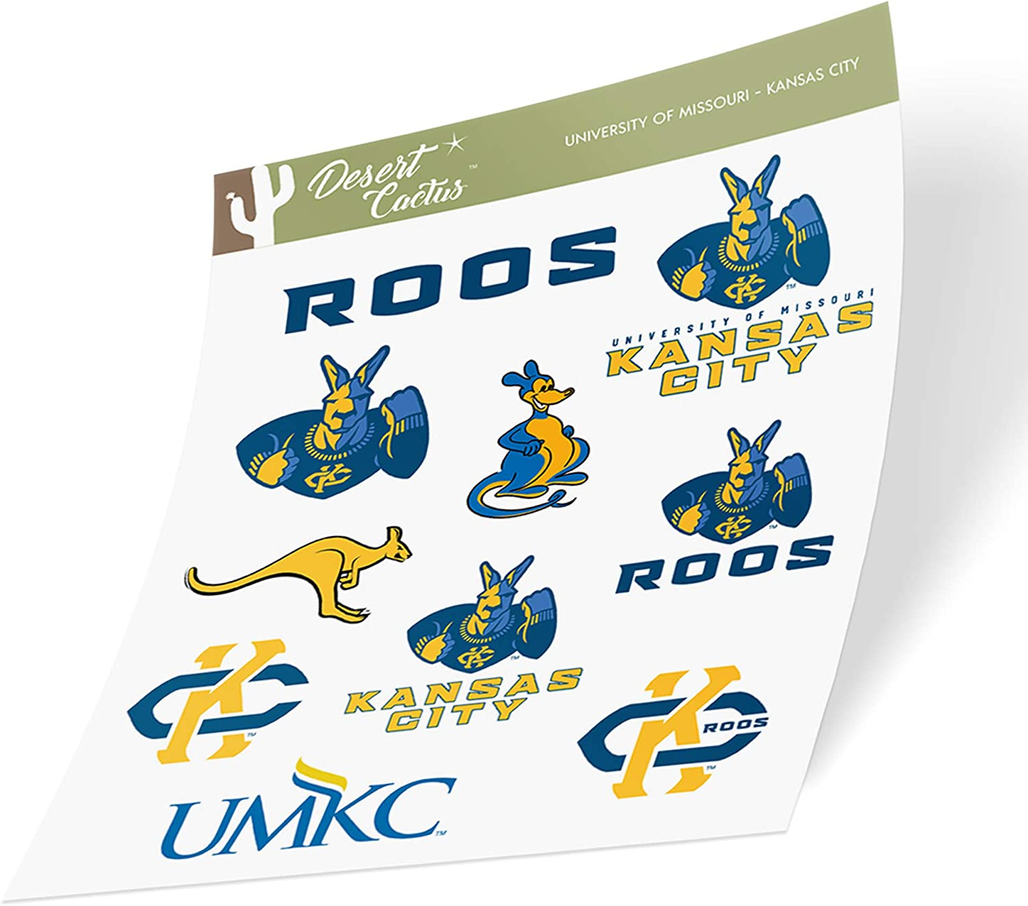 University of Missouri-Kansas City UMKC Kangaroos NCAA Sticker Vinyl Decal Laptop Water Bottle Car Scrapbook (Type 2 Sheet)