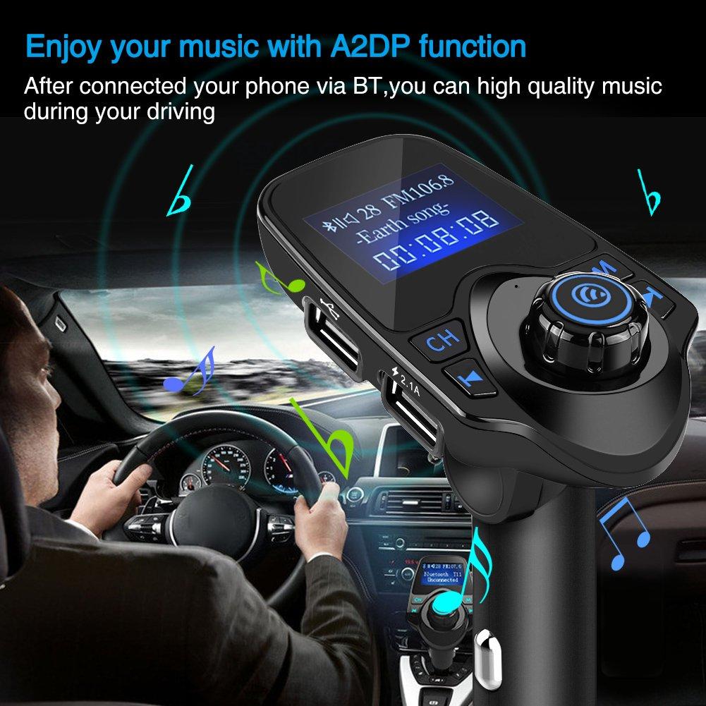 2.1A USB-Ladeger/ät FM-Transmitter f/ür alle Smartphones mit AUX-Kabel TF-Karte 3,5 mm-Linie Keenso Auto T11 drahtloser Bluetooth MP3 Player Radio Adapter 5V