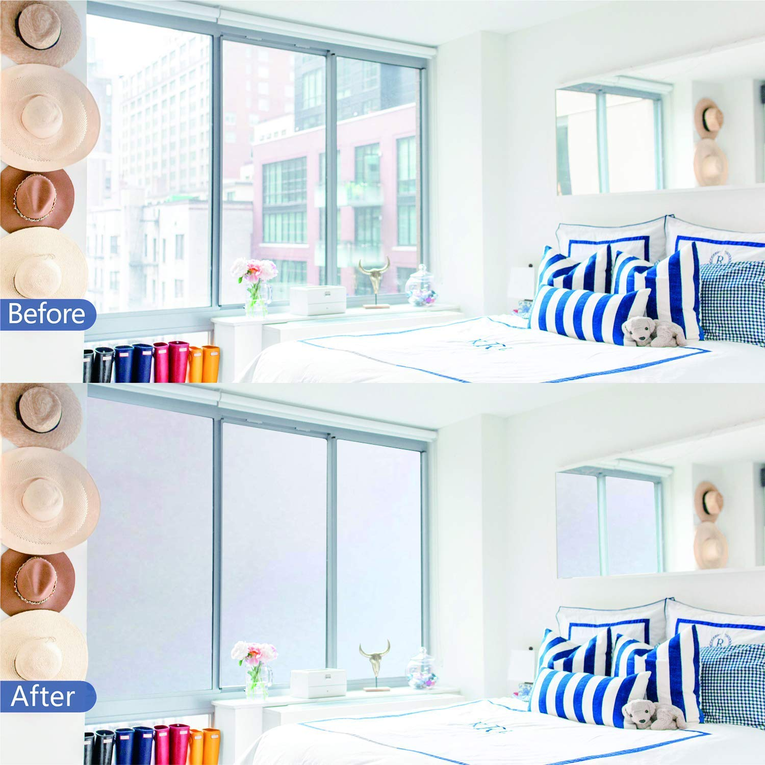 Privacy Window Film Static Cling Frosted Glass Film Anti UV Window Cling No Glue Window Frosting Film Decorative Opaque Glass Window Sticker for Home Privacy Bathroom Privacy 17.5 x 70.8 inches