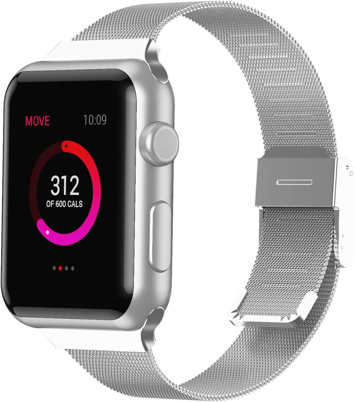 Slim Bands Compatible with Apple Watch Band 38mm 40mm 42mm 44mm, Adjustable Metal Mesh Replacement Starp for Series 6/SE/5/4/3/2/1 Women Men (Silver, 38mm/40mm)