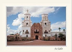 11 X 14 Inch Mat Wall Art Decor Including Photograph of the Spanish Catholic Mission San Javier Del Bac Church Near Tucson, Arizona