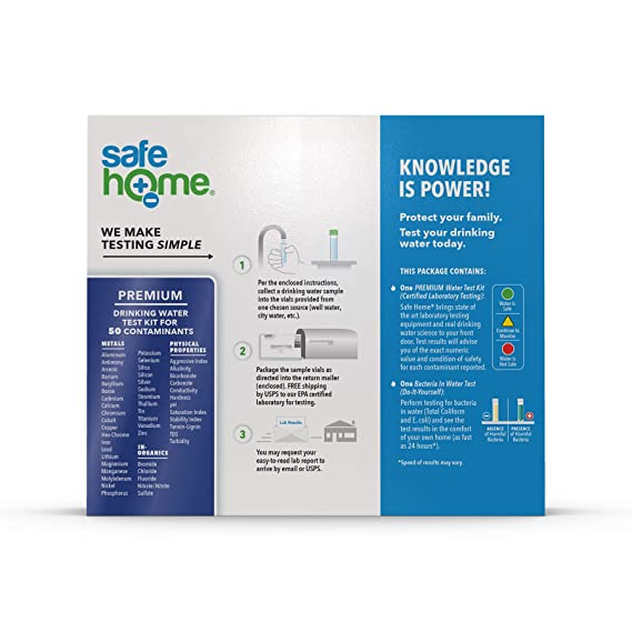 Safe Home PREMIUM Drinking Water Test Kit – #1 Selling Kit for Testing CITY  & WELL WATER – 50 Contaminants Tested at Our EPA Certified Laboratory –