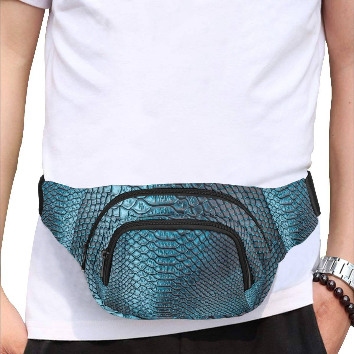 Fashion Printed Crocodile Skin Fenny Packs Waist Bags Adjustable Belt Waterproof Nylon Travel Running Sport Vacation Party For Men Women Boys Girls Kids