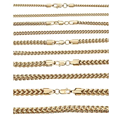 3d52b0f25b78c Harlembling Men's Real Solid Franco Chain - 14k Gold Over Stainless Steel -  3mm 4mm 5mm 6mm 8mm - 18-30