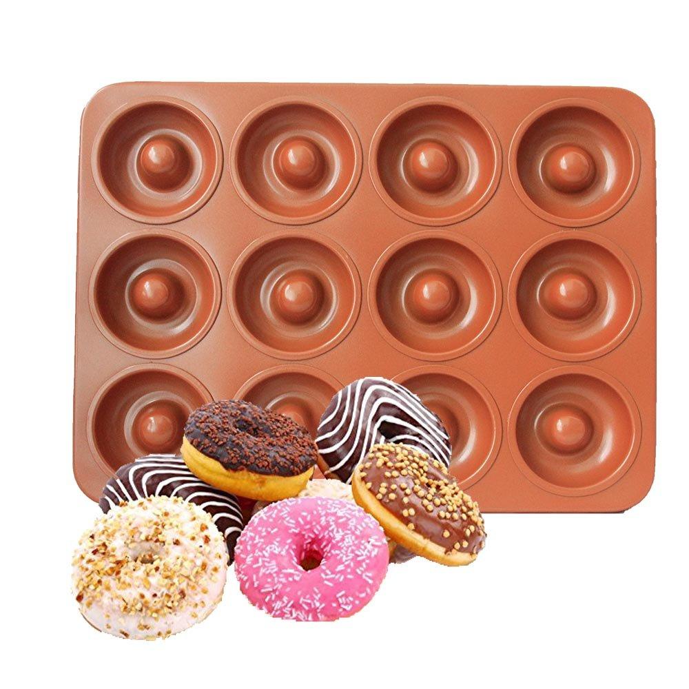 CHEFHUB Copper Mini Donut Pan, 12 Cavity Mini Donut Maker Dia=2'' Non-Stick Extra Thick Baking Pan, Kitchen Novelty Pan, Bake Cake, Donut, Mini Bega, Great for Home, Party, Kids Party, Cute