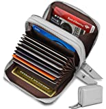 Women's Genuine Leather RFID Secure Spacious Cute Zipper Card Wallet Small Purse (Gray)