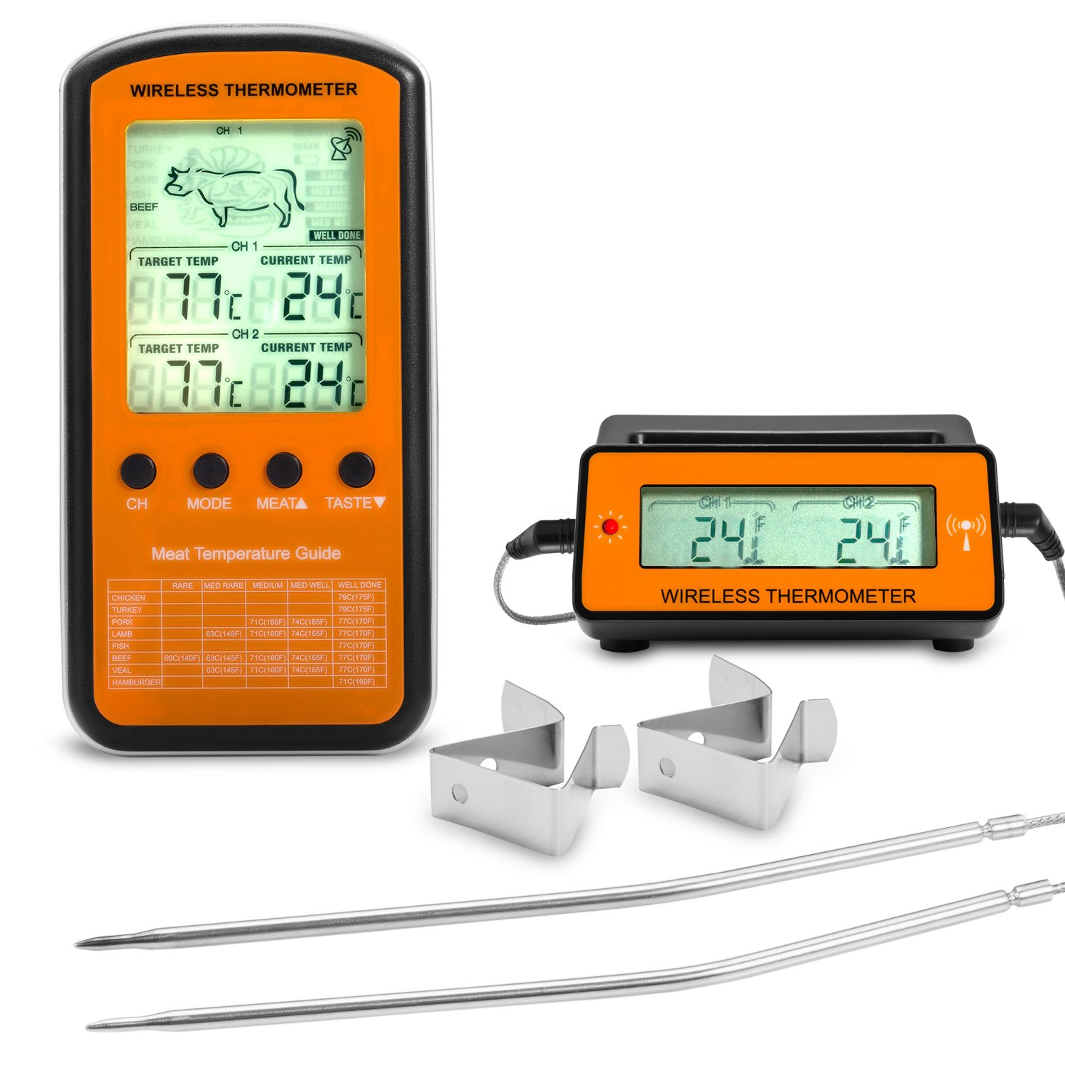 Occer Wireless Digital Electric Meat Thermometer Remote Home Cooking Oven Thermometers With Dual Probe Monitoring Temperature For BBQ Grilling Kitchen Smoker For Red,White Meat