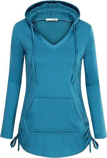 nikunLONG Hooded Women Plus size Tee Long Sleeve Casual Pullover Sweatshirt Hooded Casual Pullover Top Blouse