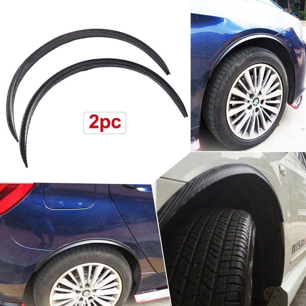 2pcs Carbon Fiber Car Truck Wheel Well Molding Fender Trim Universal Black Wheel Eyebrow Protector Lip Sticker