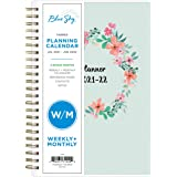 """Blue Sky 2021-2022 Academic Year Weekly & Monthly Planner, 5"""" x 8"""", Frosted Flexible Cover, Wirebound, Laurel (131949)"""