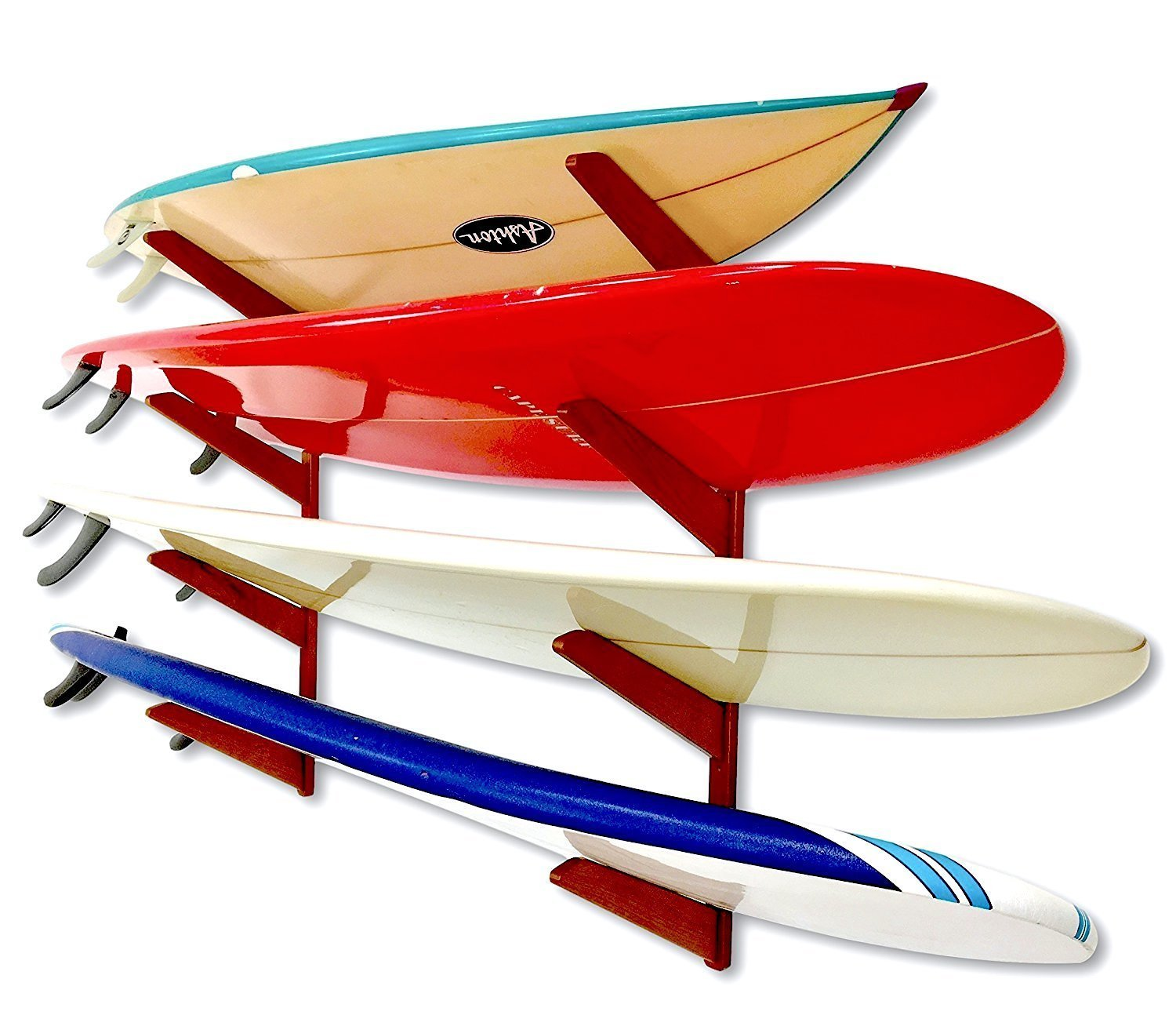 StoreYourBoard Timber Surfboard Wall Rack, Holds 4 Surfboards, Wood Home Storage Mount System by StoreYourBoard