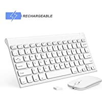 Wireless Keyboard and Mouse, Seenda Ultra Small Low Profile Rechargeable Aluminum Keyboard and Mouse Combo with Long Battery Life for Windows Devices-White