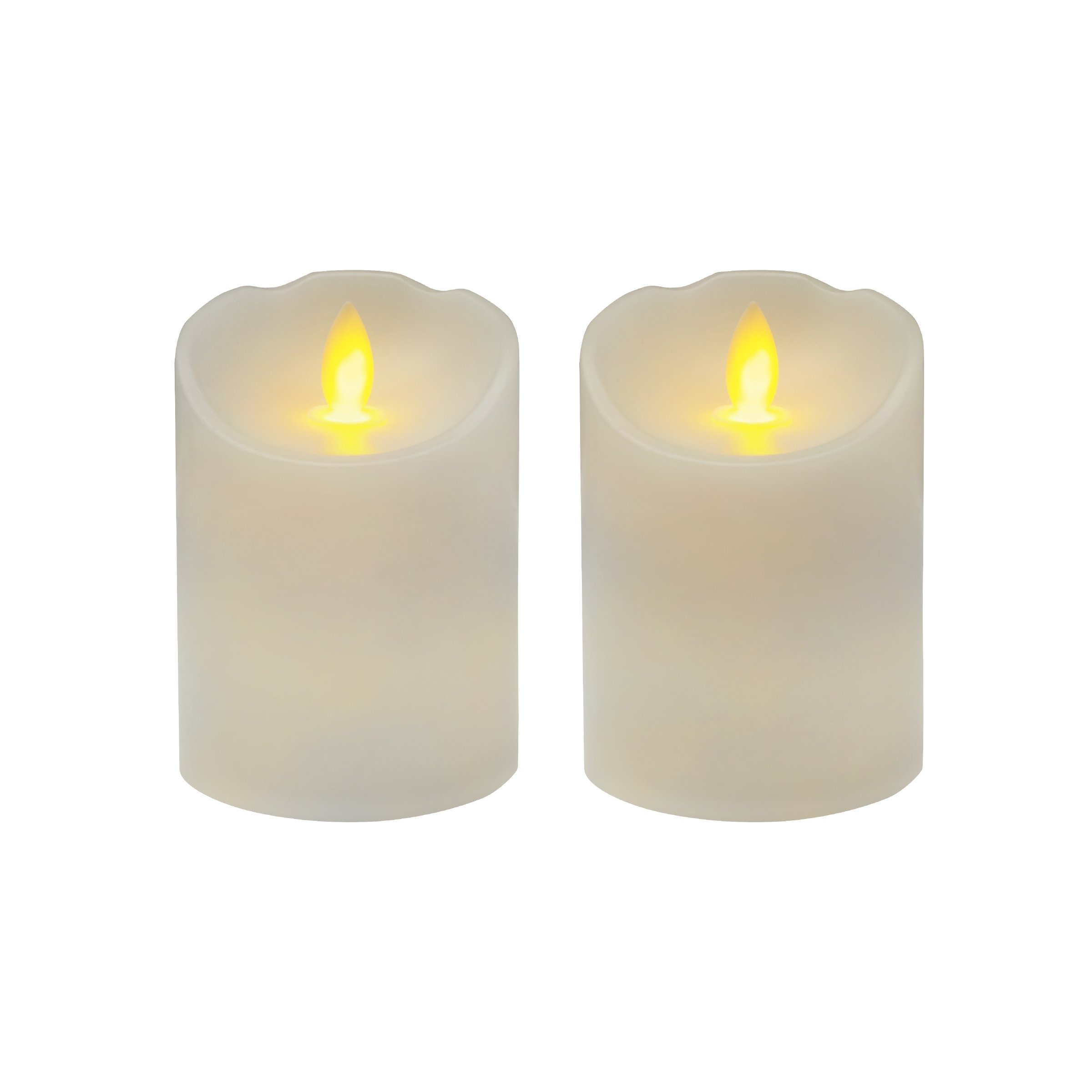 Mikasa Reflections LED Candle with Realistic Flame Set, 3-Inch-by-4-Inch, White, 2-Count