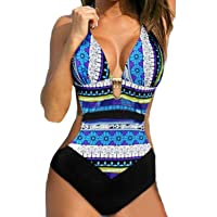 gllive Women Bohemia Sexy One Piece Bikini Halter Straps Swimsuit Bathing Swimwear