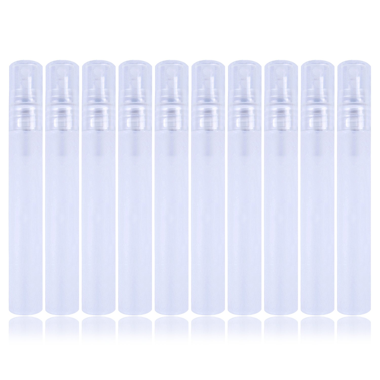 10 Pcs Plastic Bottle Spray Mini Empty Sample Bottles Atomizer Pump for Perfume, Toner and etc, 10ml, Clear White