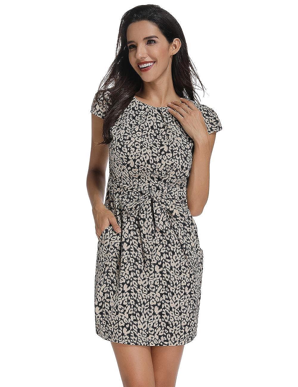 Loneni Womens Cap Sleeve Split Print Cocktail Party Flower Dress With Belt