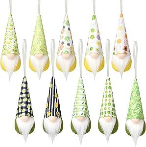 Lemon Hanging Gnome Ornaments Set of 10, Handmade Kitchen Decor Swedish Elf Summer Party Gift Home Farmhouse Kitchen Plush Decoration Wall Ornaments