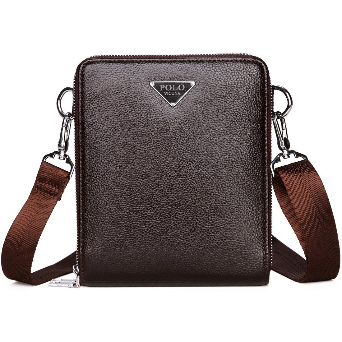 VICUNA POLO Shoulder Bag for Men Messenger Bag Large Capacity Crossbody Bag for Male (brown)