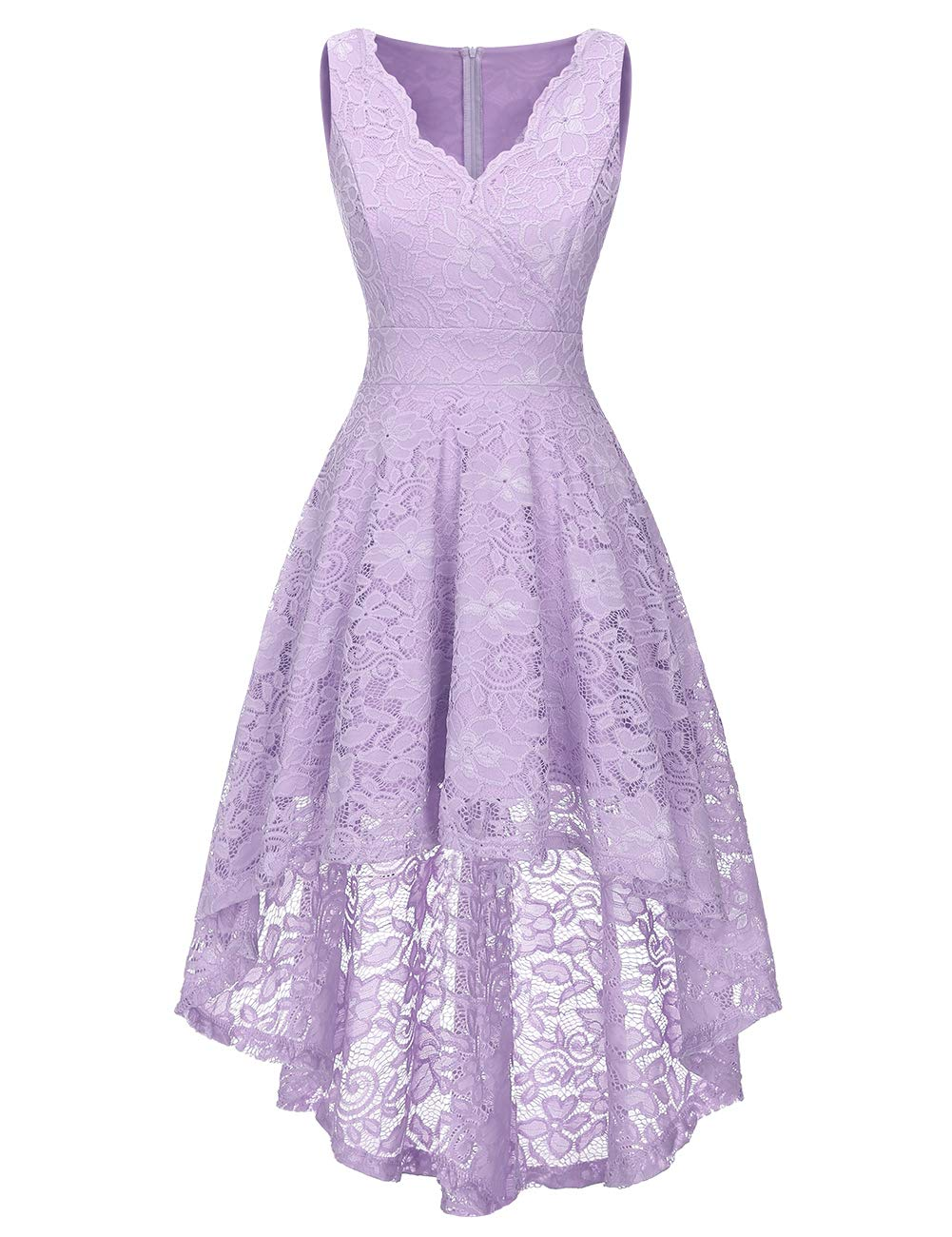 Floral Lace Dress Asymmetrical Hi-lo