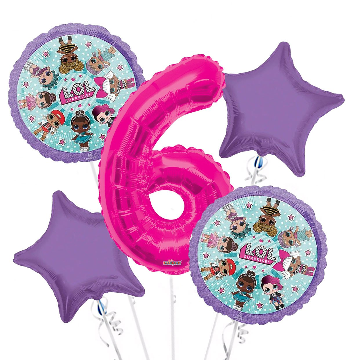 LOL Suprise Balloon Bouquet 6th Birthday 5 pcs - Party Supplies